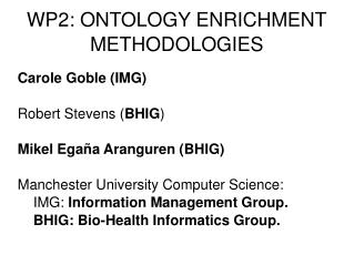 WP2: ONTOLOGY ENRICHMENT METHODOLOGIES