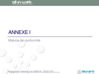 ANNEXE I