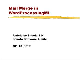Mail Merge in WordProcessingML