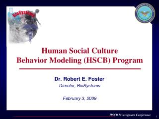 Human Social Culture  Behavior Modeling (HSCB) Program