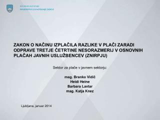 Sektor za plače v javnem sektorju: mag. Branko Vidič Heidi Heine Barbara Lavtar mag. Katja Knez