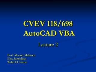 CVEV 118/698  AutoCAD VBA
