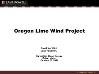Oregon Lime Wind Project
