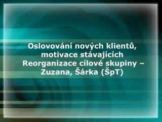 Oslovování nových klientů, motivace stávajících  Reorganizace cílové skupiny –Zuzana, Šárka (ŠpT)