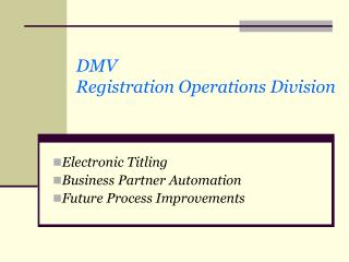 DMV Registration Operations Division