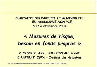 SEMINAIRE SOLVABILITE ET RENTABILITE  EN ASSURANCE NON VIE 5 et 6 Novembre 2003