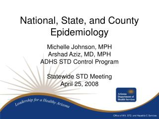 National, State, and County Epidemiology