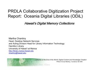 PRDLA Collaborative Digitization Project Report:  Oceania Digital Libraries (ODiL) ‏
