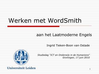 Werken met WordSmith