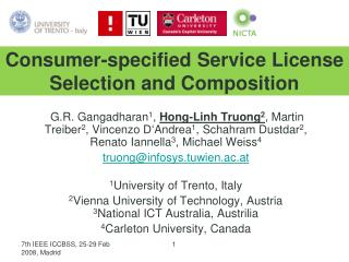 Consumer-specified Service License Selection and Composition