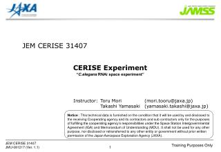 "CERISE Experiment "" C.elegans  RNAi space experiment"""