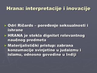 Hrana: interpretacije i inovacije