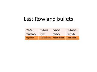 Last Row and bullets