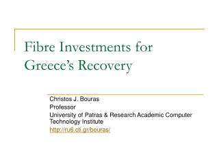 Fibre Investments for Greece's Recovery