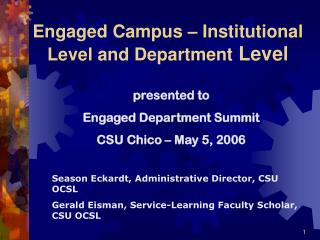 Engaged Campus – Institutional Level and Department Level