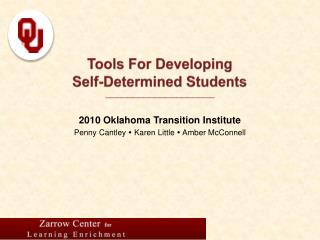 Tools For Developing  Self-Determined Students