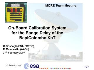 On-Board Calibration System for the Range Delay of the BepiColombo KaT