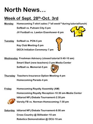 North News… Week of Sept. 28 th -Oct. 3rd
