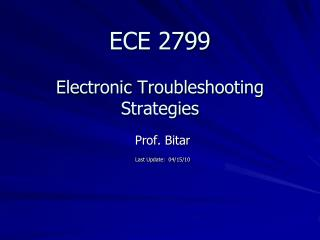 ECE 2799  Electronic Troubleshooting Strategies