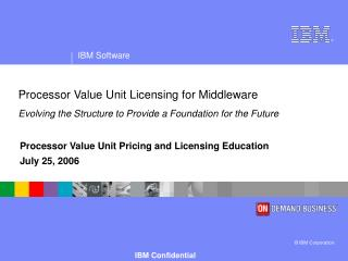 Processor Value Unit Pricing and Licensing Education July 25, 2006