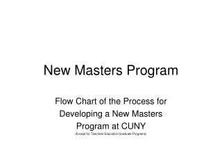 New Masters Program