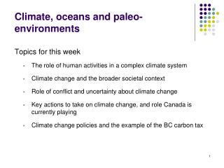 Climate, oceans and paleo-environments