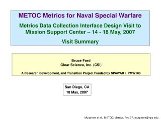 METOC Metrics for Naval Special Warfare