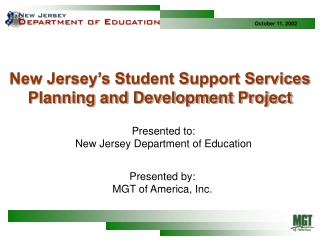 New Jersey's Student Support Services Planning and Development Project
