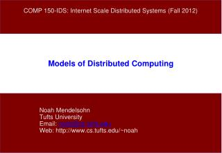 Models of Distributed Computing