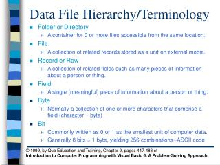 Data File Hierarchy/Terminology