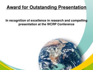 Award for Outstanding Presentation