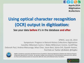 Using optical character recognition (OCR) output in digitization: