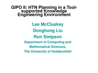 GIPO II: HTN Planning in a Tool-supported Knowledge Engineering Environment
