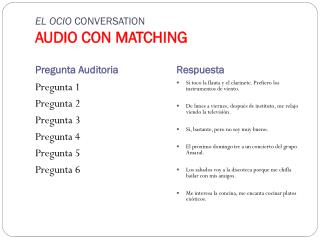 EL OCIO  CONVERSATION AUDIO CON MATCHING