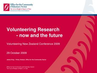 Volunteering Research 	- now and the future