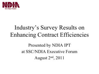 Industry ' s Survey Results on Enhancing Contract Efficiencies