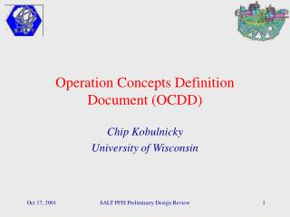 Operation Concepts Definition Document (OCDD)