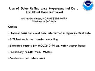 Use of Solar Reflectance Hyperspectral Data  for Cloud Base Retrieval