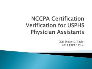NCCPA Certification Verification for USPHS Physician Assistants
