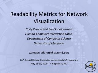 Readability Metrics for Network Visualization
