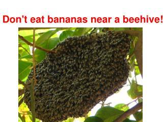 Don't eat bananas near a beehive!