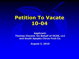 Petition To Vacate  10-04