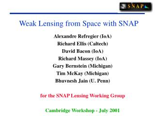 Weak Lensing from Space with SNAP