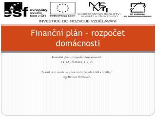 Finanční plán – rozpočet domácnosti