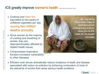 ICS greatly improve  women's health  (World Health Organization, WHO)