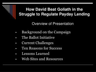 How David Beat Goliath in the Struggle to Regulate Payday Lending