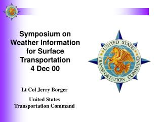 Symposium on Weather Information for Surface Transportation 4 Dec 00