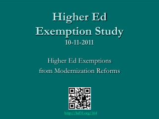 Higher Ed Exemption Study 10-11-2011