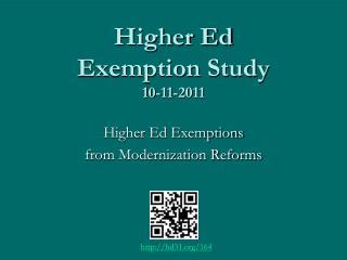 Higher Ed Exemption Study 10-11-2011
