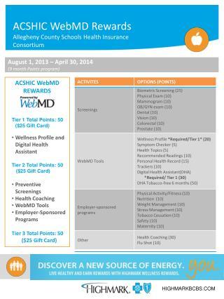 ACSHIC WebMD Rewards Allegheny County Schools Health Insurance Consortium